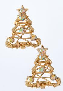 Christmas Tree Button Earrings