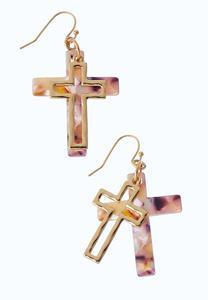 Lucite Cross Earrings