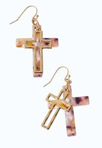Lucite Cross Earrings