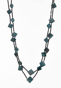 Layered Teal Bead Cord Necklace