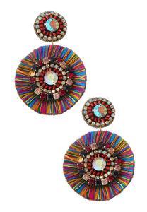 Multi Fringe Disk Earrings