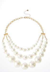 Layered Gold Pearl Necklace