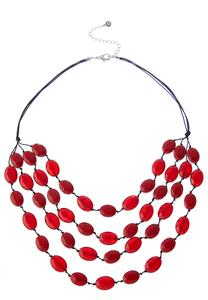 Rows Of Red Cord Necklace