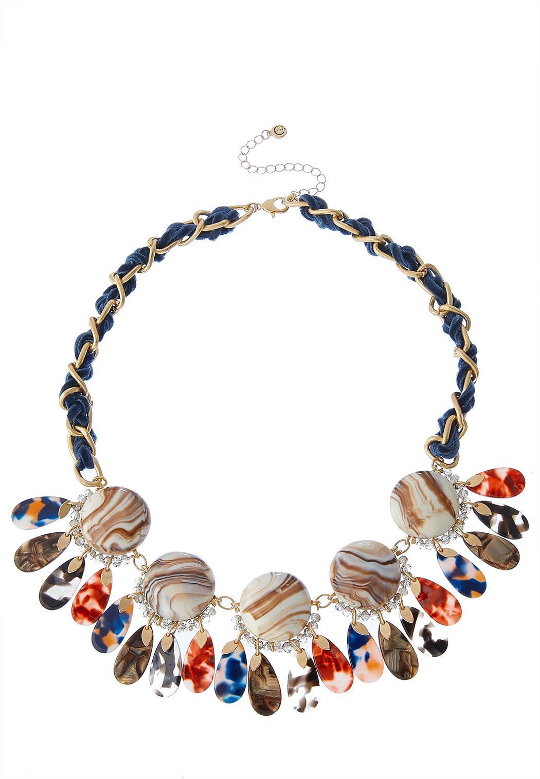 Marbleized Lucite Bib Necklace