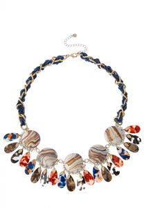 Marbleized Lucite Bib Necklace