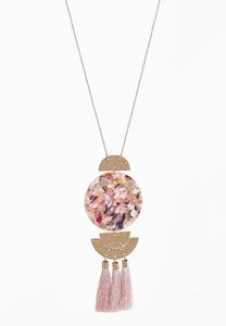 Multi Lucite Tassel Necklace
