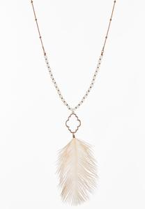Moroccan Feather Pendant Necklace