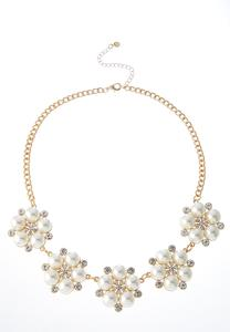 Pearl And Stone Flower Necklace