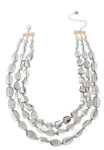 Triple Row Glass Bead Necklace