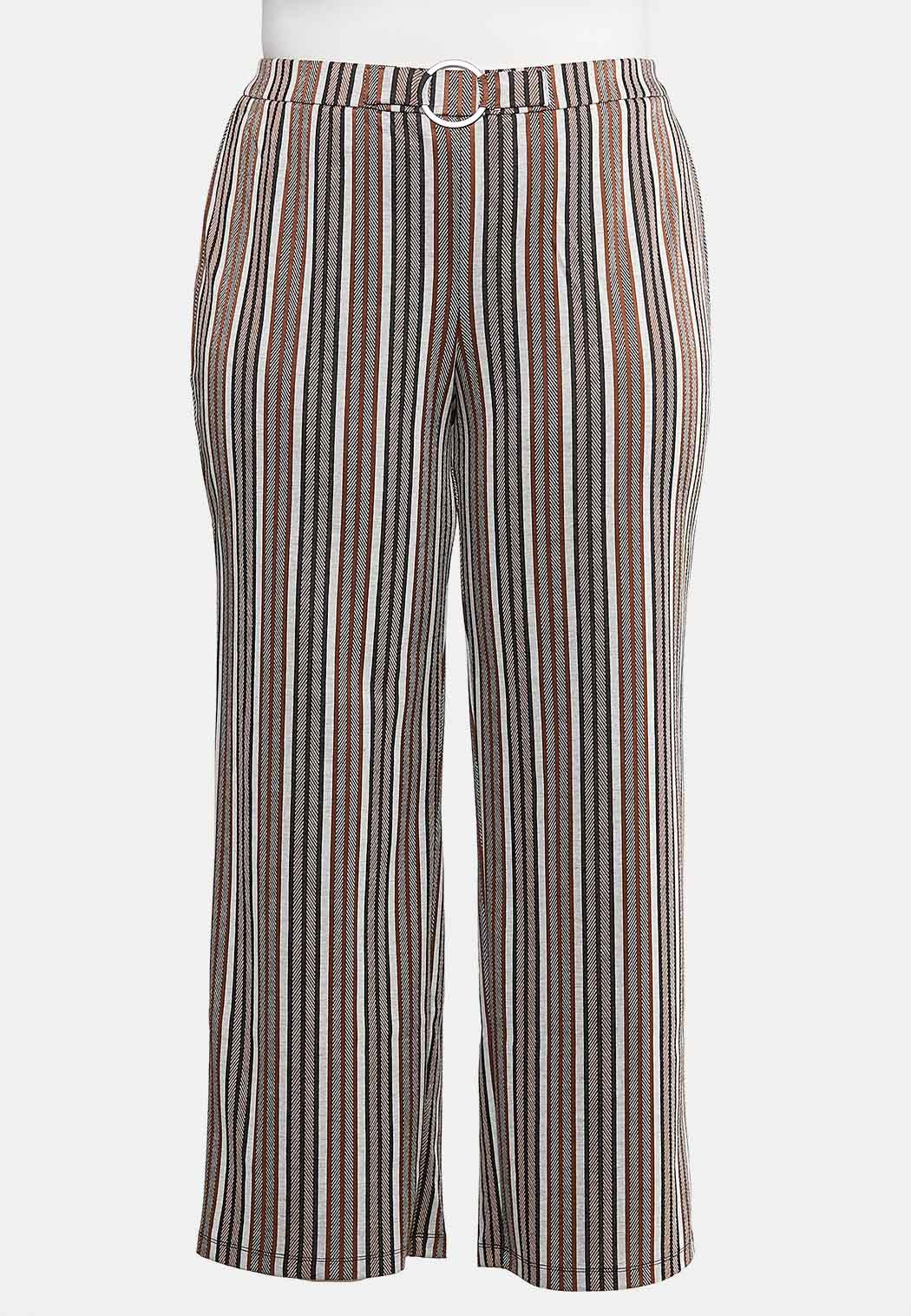 Plus Size Wide Leg Stripe Belted Pants Pants Cato Fashions