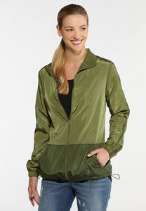 Plus Size Green Windbreaker