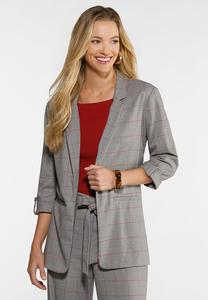 Plus Size Gray Windowpane Blazer
