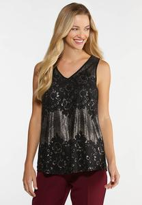 Plus Size Metallic Lace Tank