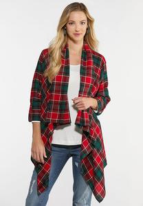 Plus Size Plaid Draped Jacket