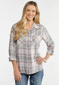 Plus Size Blush Plaid Shirt