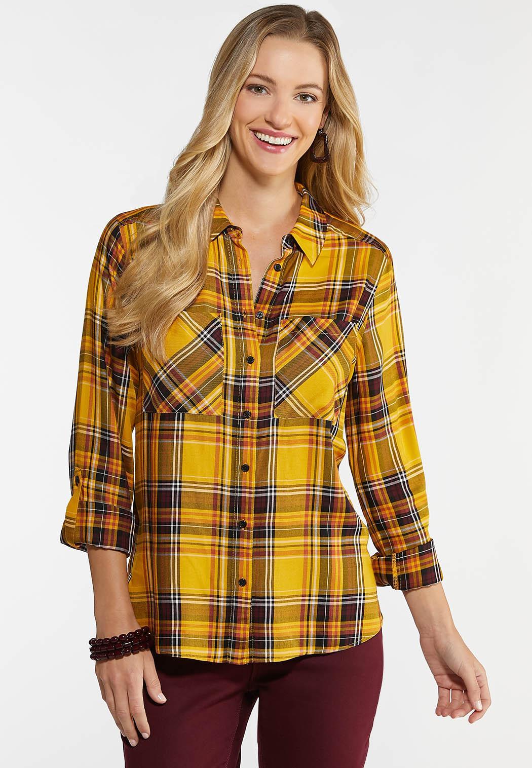 Plus Size Golden Plaid Shirt