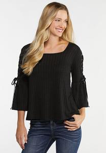 Plus Size Lace Up Sleeve Top