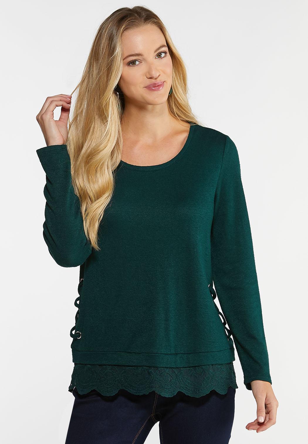 Green Lace Trim Top