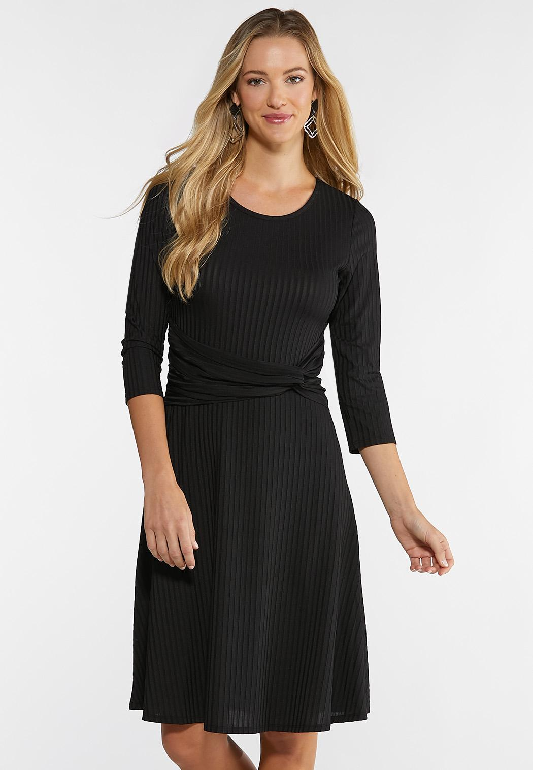 Ribbed Knotted Waist Dress