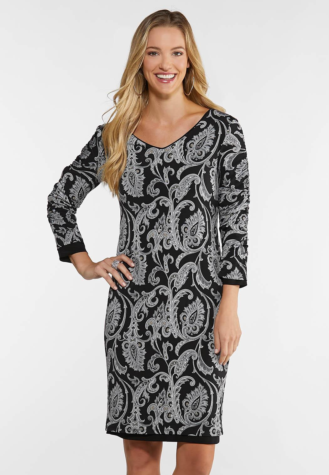 Solid Paisley Reversible Dress