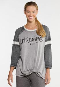 Plus Size Inspire Baseball Top