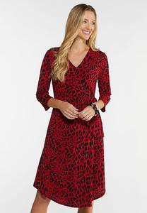 Plus Size Red Leopard Dress