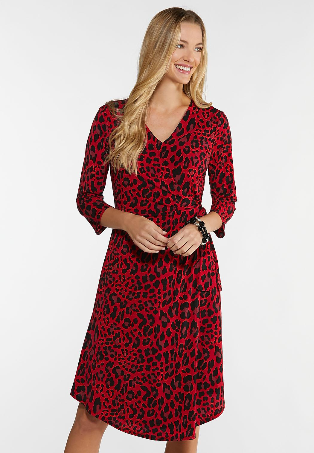 Plus Size Red Leopard Dress Plus Sizes Cato Fashions