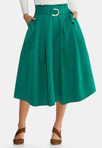 Plus Size Paper Bag Midi Skirt