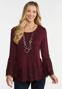 Wine Lace Trim Top