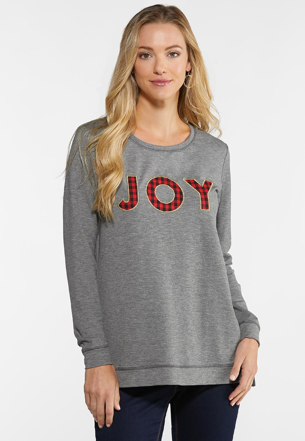 Plus Size Plaid Joy Sweatshirt