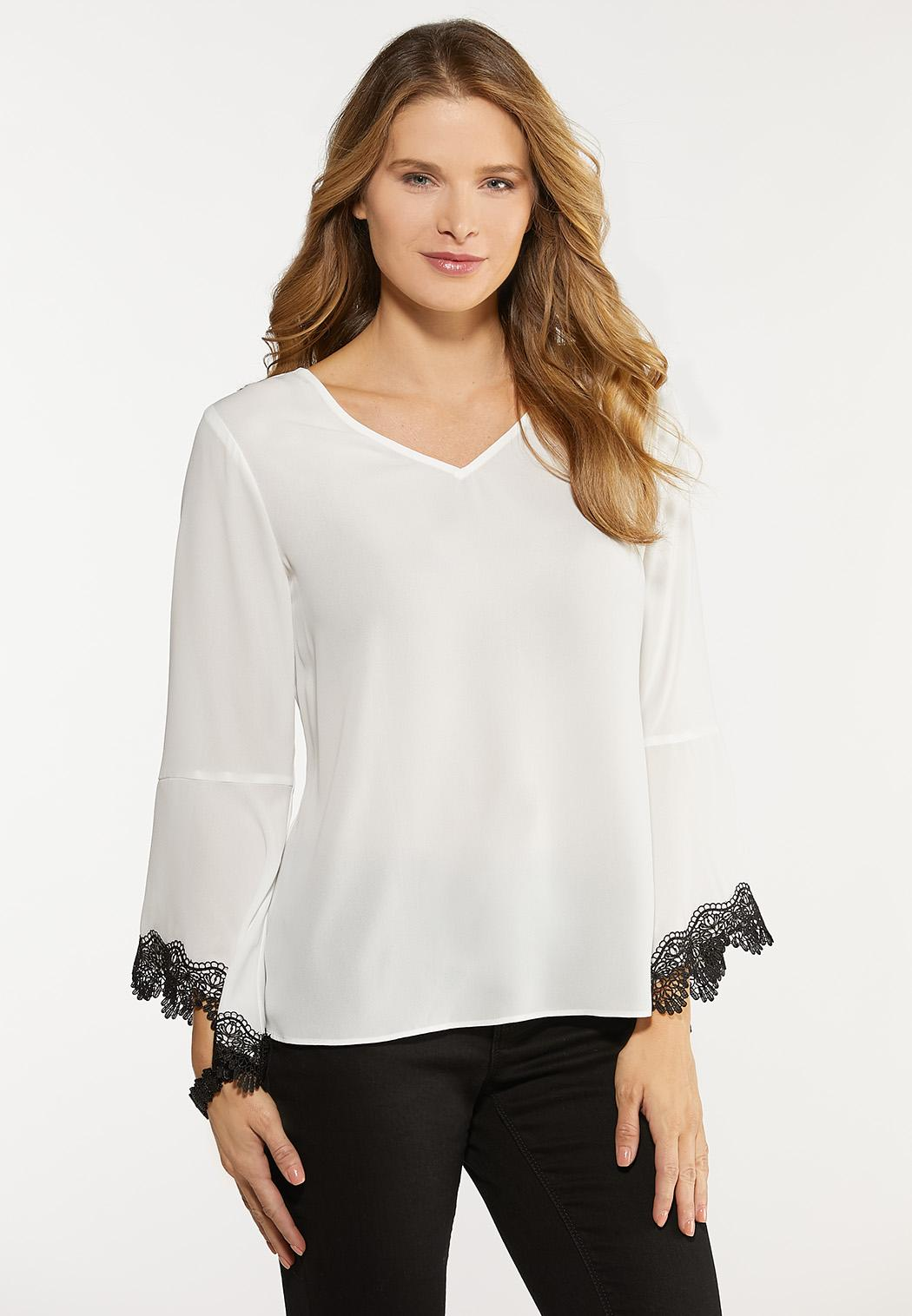 Plus Size Lace Bell Sleeve Top