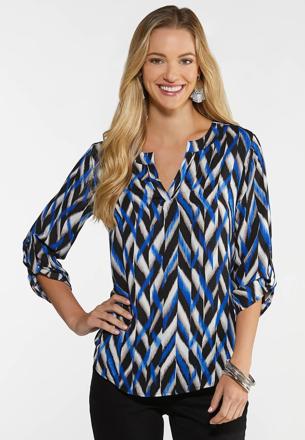 Blue Geo Pullover Top
