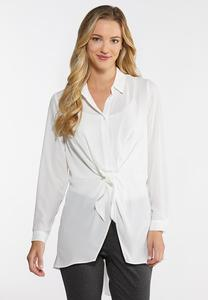 Plus Size Dressy Tie Front Tunic