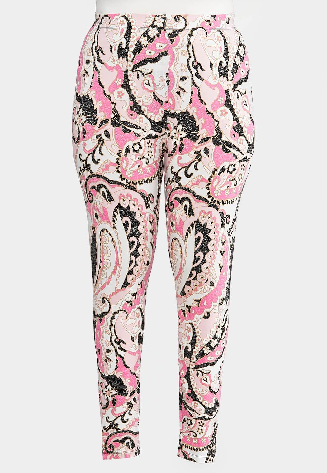 Plus Size Pink Paisley Leggings
