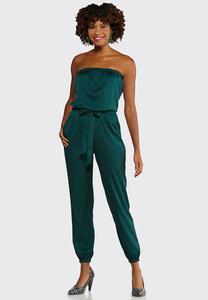 Petite Satiny Green Jumpsuit