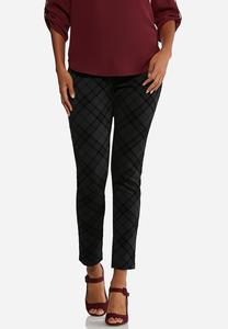 Plaid Flocked Ponte Leggings
