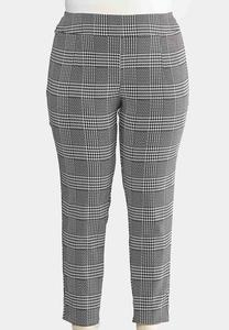 Plus Size Checkered Houndstooth Pants