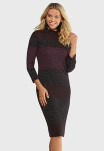 Colorblock Shimmer Sweater Dress