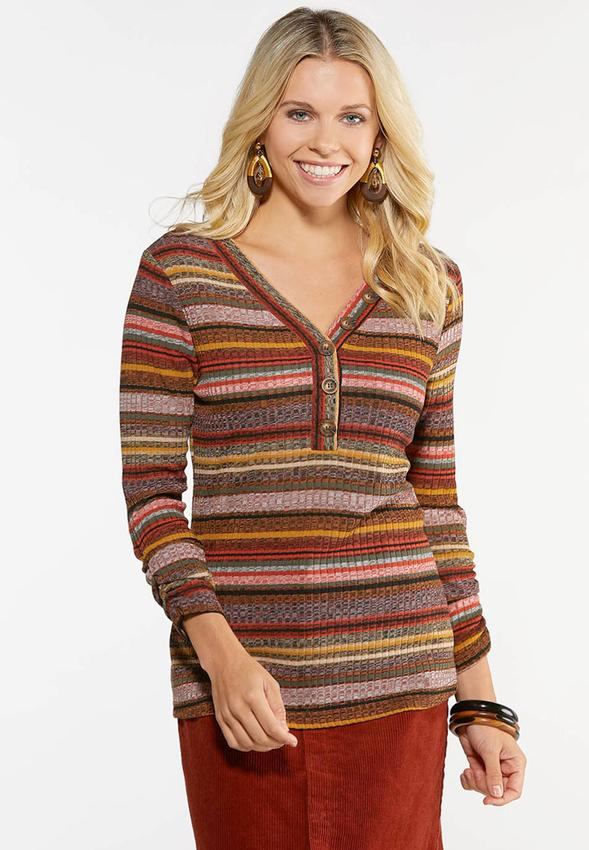 Plus Size Autumnal Stripe Ribbed Top