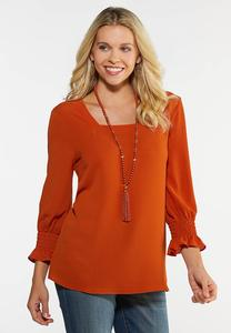 Plus Size Rust Smocked Sleeve Top