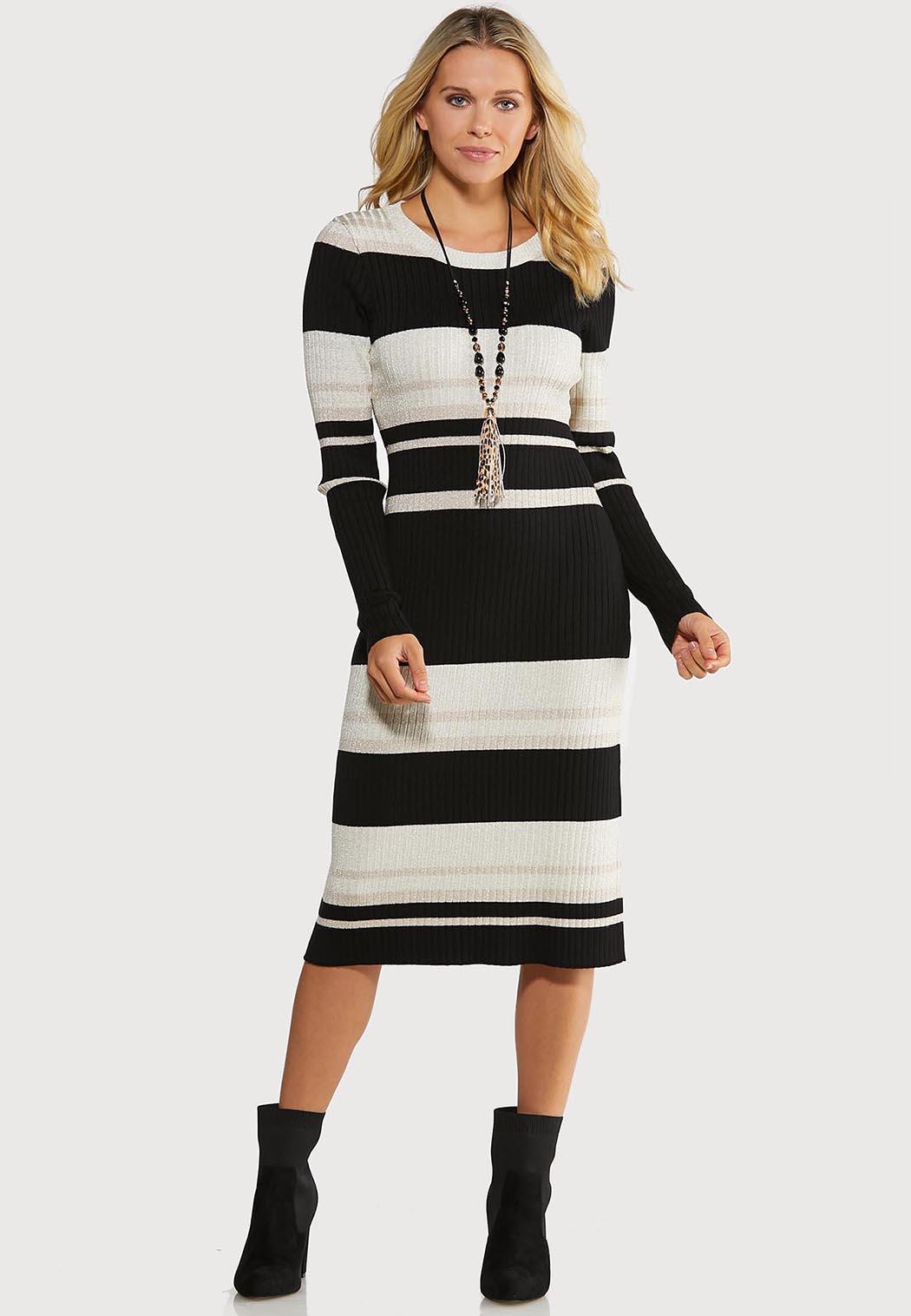 Metallic Stripe Sweater Dress