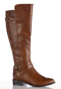 Wide Width Buckle Strap Riding Boots