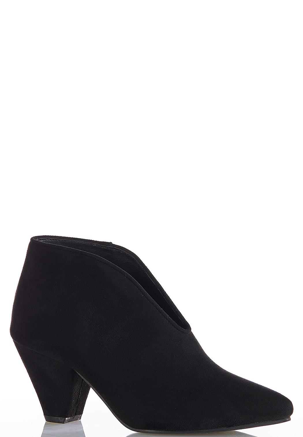 Faux Suede V-Vamp Booties