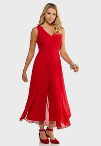 Petite Red Flyaway Jumpsuit