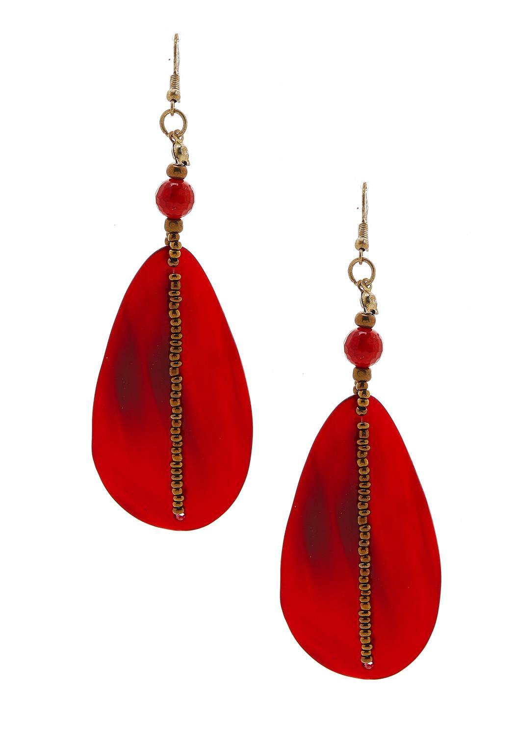 Beaded Red Earrings