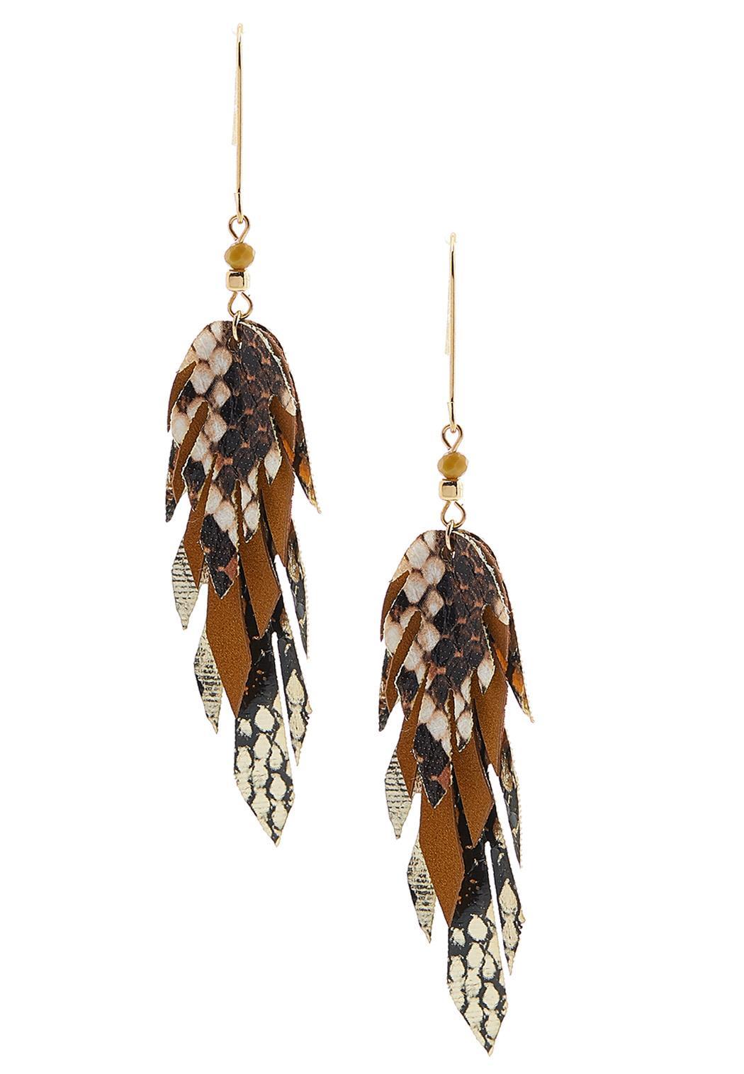 Faux Animal Print Leaf Earrings