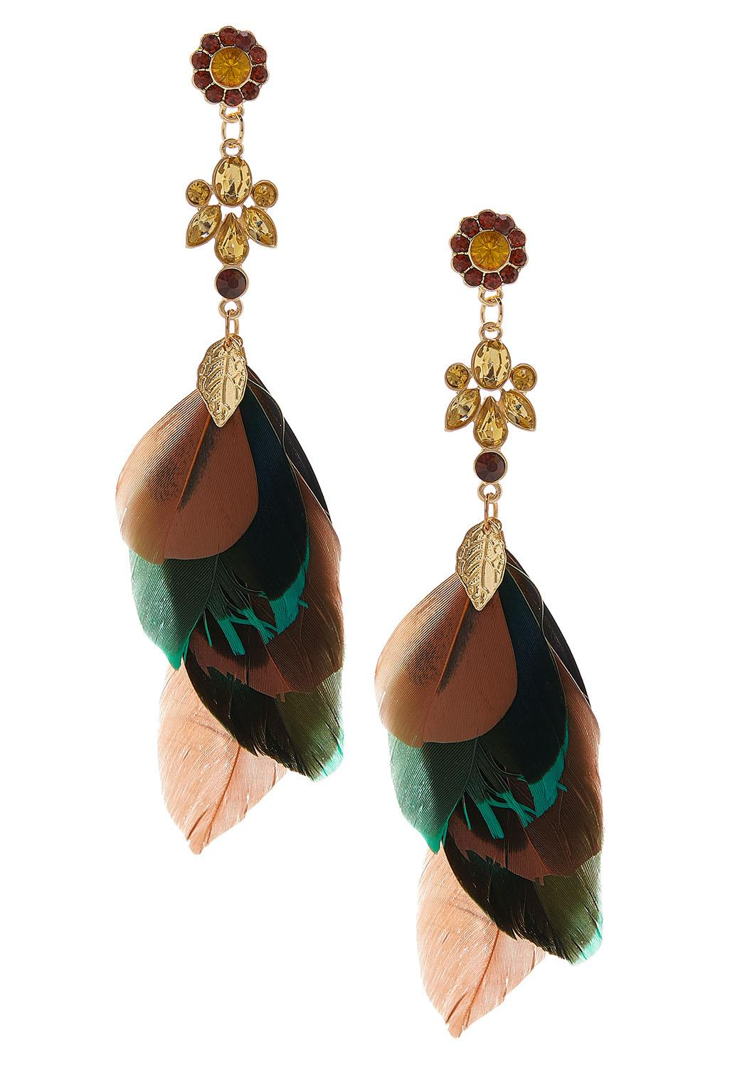 Floral Bead Feather Earrings
