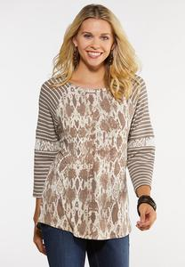 Plus Size Snake And Lace Baseball Tee