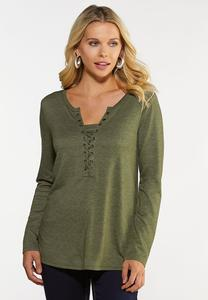 Plus Size Laced Neck Utility Top