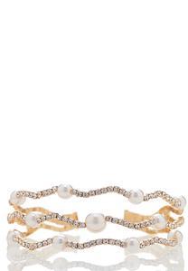 Wavy Stone And Pearl Cuff Bracelet